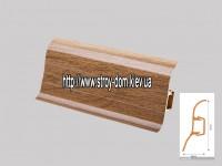 Плинтус 'Plint' AM60 — 03 с кабель-каналом глянцевый тиковое дерево