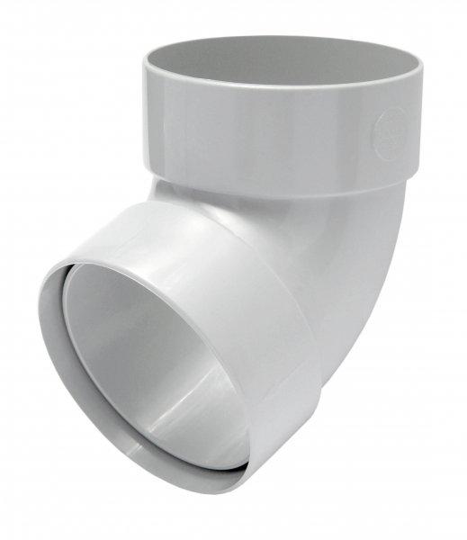 Отвод трубы двомуфтный67° 75мм RAINWAY белый