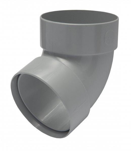 Отвод трубы двомуфтный67° 75мм RAINWAY серый