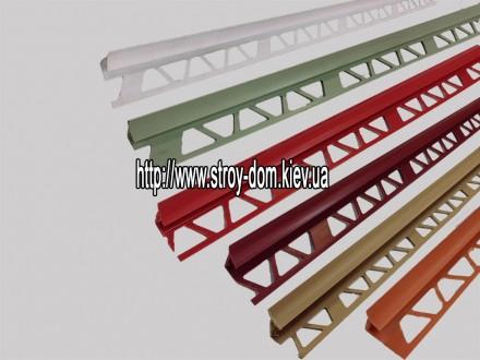 Профиль для кафельной плитки, бордовый, наруж.9-10мм
