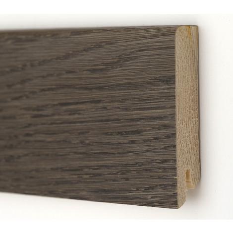 Плинтус деревянный шпонированный Kluchuk Модерн Дуб Базальт 80х18х2400 Серо коричневый KLM8015