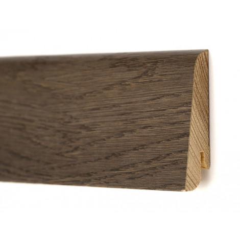 Фото - Плинтус деревянный шпонированный Kluchuk Евро Дуб Базальт 60х18х2400 Коричневый KLE6015