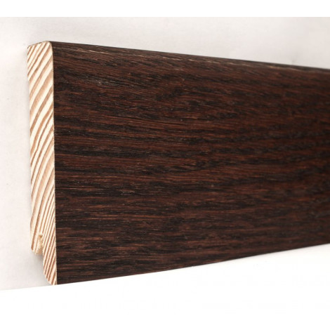 Плинтус деревянный шпонированный Kluchuk Модерн Дуб Коньяк 80х18х2400 Темно коричневый KLM8011
