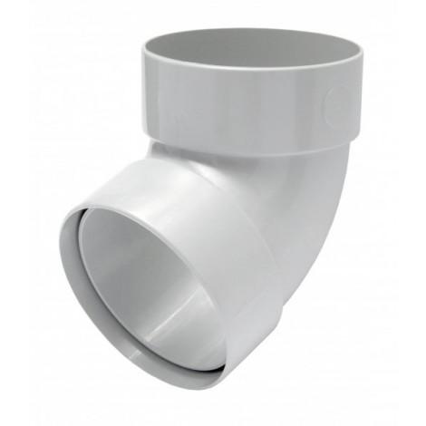 Фото - Отвод трубы двомуфтный 67° 75мм RAINWAY белый