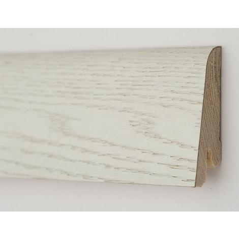 Фото - Плинтус деревянный шпонированный Kluchuk Рустик Дуб арктик 60х19х2200 Белый KLR6003