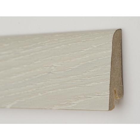 Плинтус деревянный шпонированный Kluchuk Рустик Дуб ледяной 80х19х2200 Белый KLR8004