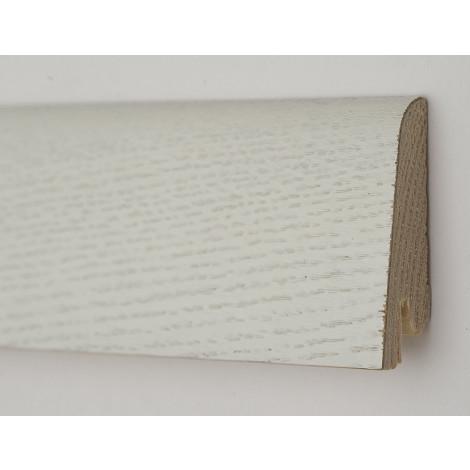 Фото - Плинтус деревянный шпонированный Kluchuk Рустик Дуб зимний 60х19х2200 Белый KLR6002