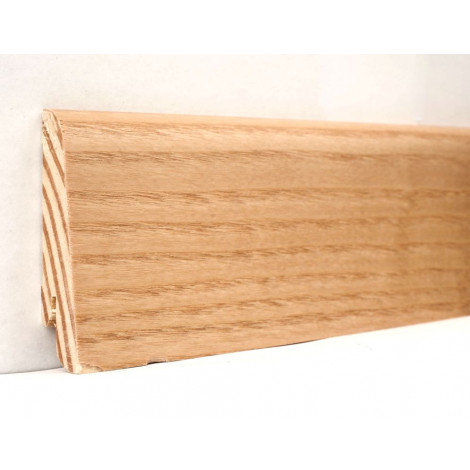 Фото - Плинтус деревянный шпонированный Kluchuk Евро Ясень натуральный 60х18х2400 Светло коричневый KLE6004