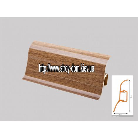 Плинтус 'Plint' AM60 - 03 с кабель-каналом глянцевый тиковое дерево