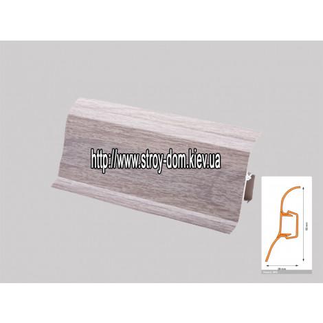 Плинтус 'Plint' AM60 - 09 с кабель-каналом глянцевый клён серый