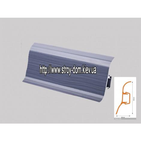 Плинтус 'Plint' AM60 - 10 с кабель-каналом глянцевый ясень синий