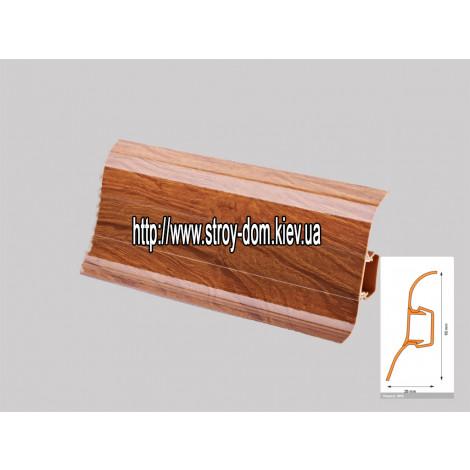Плинтус 'Plint' AM60 - 15 с кабель-каналом глянцевый японская вишня