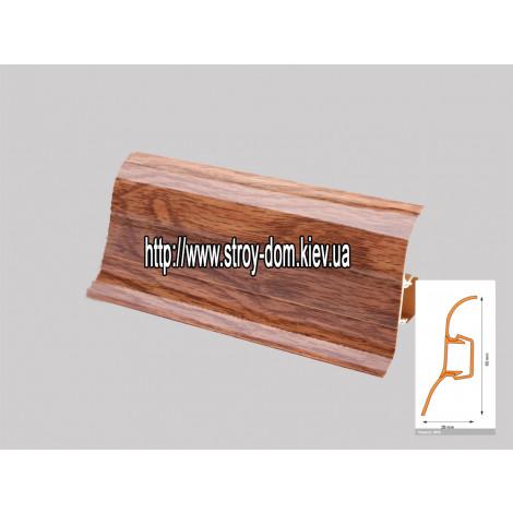 Плинтус 'Plint' AM60 - 23 с кабель-каналом глянцевый дуб богемный