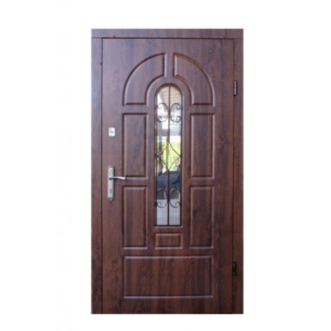 Фото - Входная дверь Форт эконом Арка Улица дуб темный+ковка