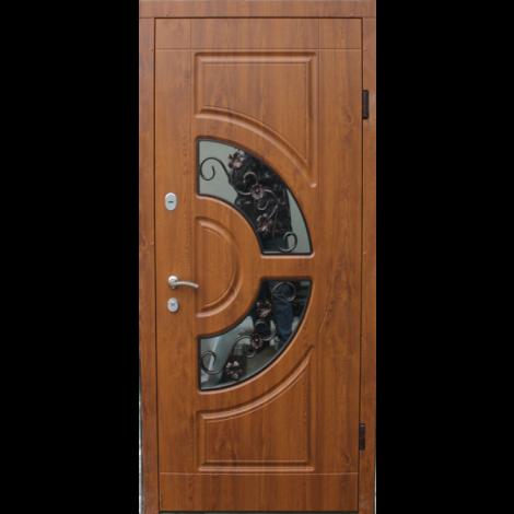 Фото - Входная дверь ФОРТ Премиум Греция стеклопакет 960 Улица дуб темный