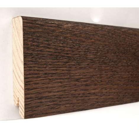 Фото - Плинтус деревянный шпонированный Kluchuk Модерн Дуб Какао 80х18х2400 Коричневый KLM8010