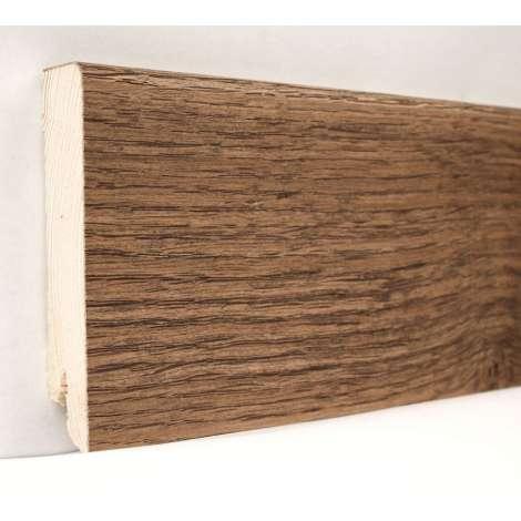 Фото - Плинтус деревянный шпонированный Kluchuk Модерн Дуб Мокка 80х18х2400 Коричневый KLM8009