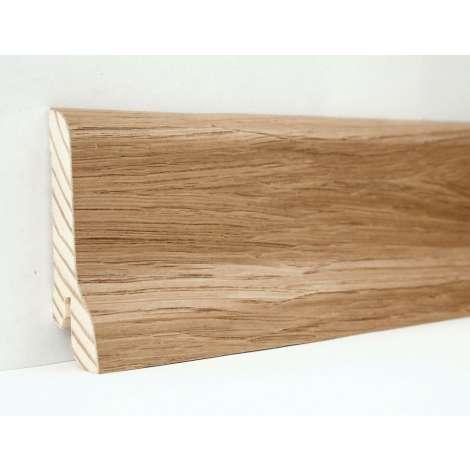 Фото - Плинтус деревянный шпонированный Kluchuk Классика  Дуб натуральный 60х21х2400 Светло коричневый KLK6001