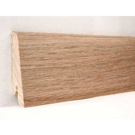 Фото - Плинтус деревянный шпонированный Kluchuk Евро Дуб патина 60х18х2400 Коричневый KLE6003