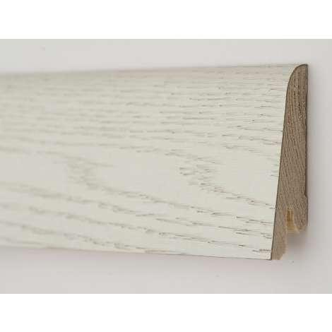 Фото - Плинтус деревянный шпонированный Kluchuk Рустик Дуб арктик 80х19х2200 Белый KLR8003