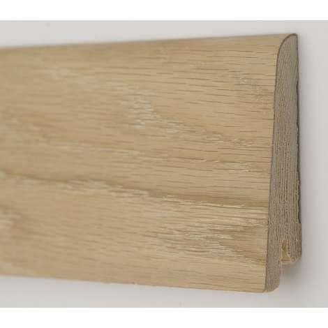 Фото - Плинтус деревянный шпонированный Kluchuk Рустик Дуб шлифованный 80х19х2200 Светло коричневый KLR8001