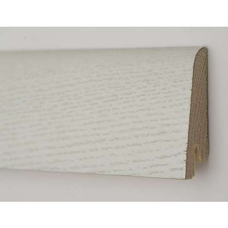 Фото - Плинтус деревянный шпонированный Kluchuk Рустик Дуб зимний 80х19х2200 Белый KLR8002
