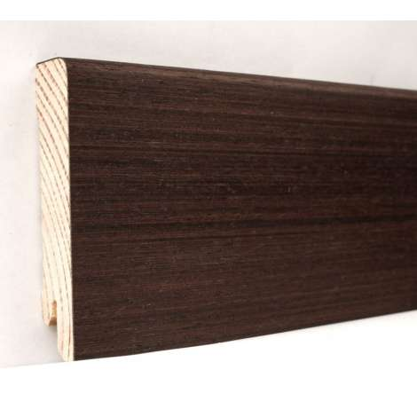 Фото - Плинтус деревянный шпонированный Kluchuk Модерн Венге 80х18х2400 Тенмно коричневый KLM8008