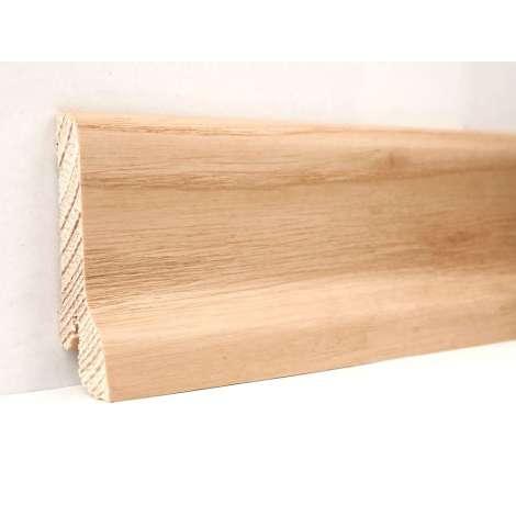 Фото - Плинтус деревянный шпонированный Kluchuk Классика Ясень натуральный 60х21х2400  Светло коричневый KLK6004