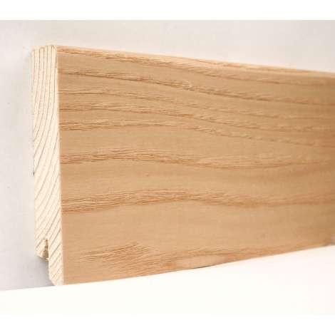 Фото - Плинтус деревянный шпонированный Kluchuk Модерн Ясень натуральный 80х18х2400 Светло коричневый KLM8004