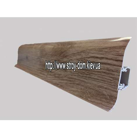 Фото - Плинтус 'Plint' AM60 - 32 с кабель-каналом глянцевый дуб седой