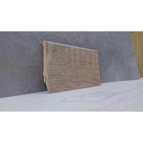 Фото - Плинтус Супер Профиль Дуб Саном 2800x80x16 Серо коричневый 1682ds