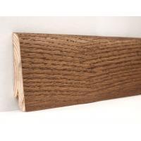 Картинка - Плинтус деревянный шпонированный Kluchuk Евро Дуб Мокка 60х18х2400 Коричневый KLE6009