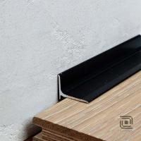 Картинка - Антиплинтус алюминиевый профиль Kluchuk черный RAL9005 2000x15x20 ALU-N1520