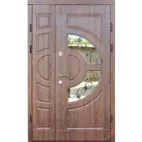 Входная дверь ФОРТ Премиум Греция стеклопакет Улица 1200 дуб темный